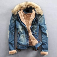 New Arrival Fashion Mens Winter Jeans Jacket with Fur Collar