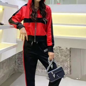 """""""PUMA"""" Woman Leisure Fashion Wild Letter Printing Zipper Hooded   Spell Color Long Sleeve Tops Elastic Band Trousers Two-Piece Set Casual Wear"""