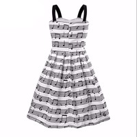 Spaghetti Strap Sweet musical note Print party Dress