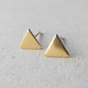 Tiny Triangle Stud Earrings - Gold Brass Geometric Minimal Jewelry - Sterling Silver Posts (E196)