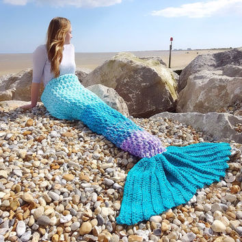 Crochet Mermaid tail blanket lapghan,  lap blanket, mermaid crochet photo prop, birthday gift, get well gift,girlfriend/wife gift Made in UK
