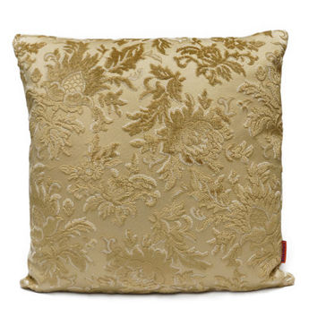 Cut Velvet couch Pillow 18x18, decorative cushion cover, luxury pillow, floral gold beige, vintage fabric, designer pillow, throw pillow