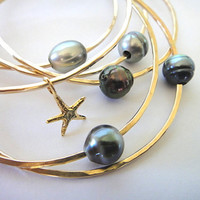 Gold Filled Tahitian Pearl Bangle  Custom, Make Your Own Yellow or Pink / Rose 14 or 12 Gauge Thick