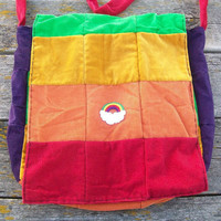 Rainbow Patchwork Recycled Corduroy Messenger Bag OOAK