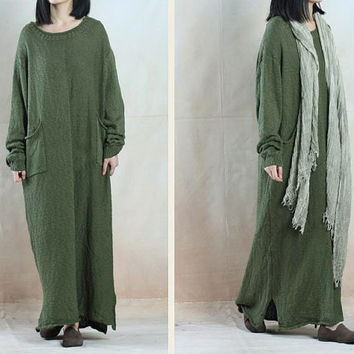 women maxi dress linen dress long sleeve from linendress88 on