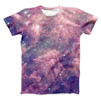 The Vibrant Sparkly Pink Nebula ink-Fuzed Unisex All Over Full-Printed Fitted Tee Shirt
