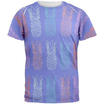 Pineapple Purple White All Over Mens T Shirt
