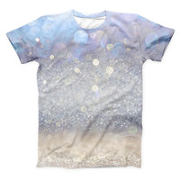 The Light Blue and Tan Unfocused Orbs of Light ink-Fuzed Unisex All Over Full-Printed Fitted Tee Shirt
