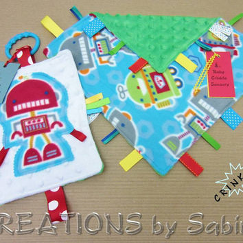 Baby Gift Set: Crinkle Tag Blanket & Ribbon Sensory Toy / Robot Robots / Blue Green Turquoise Red / Futuristic SciFi / READY TO SHIP (191)