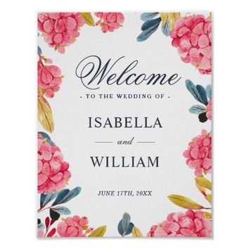 Welcome Sign | Floral Pink Hydrangeas Bouquet