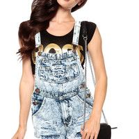 Acid Wash Distressed Cut Off Overall Shorts