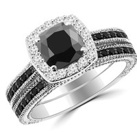 2.15ct Cushion Cut Black Diamond Halo Engagement Ring Set