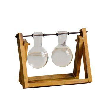 Desktop Glass Planter Bulb Vase with Classic Solid Wooden Stand and Metal Swivel Holder for Hydroponics Plants Home Garden Wedding Decor