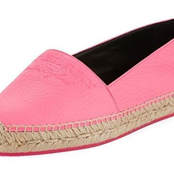 BURBERRY Hodgeson Logo Neon Leather Espadrille Flat Shoes