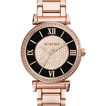 Michael Kors Women's Caitlin Rose Gold-Tone Stainless Steel Bracelet Watch 42mm MK3339