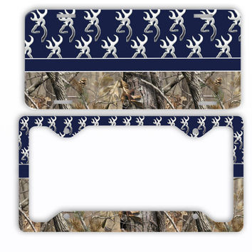 Navy Browning Camo License Plate Frame Car Tag Country Hunting