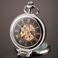 Magnifier Skeleton Mechanical Pocket Watch with Chain
