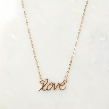 She is LOVE Necklace Gold