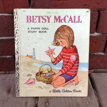 1960's BETSEY McCALL rare A Paper Doll Story Book by the sea Cape Cod Little Golden Book UNCUT