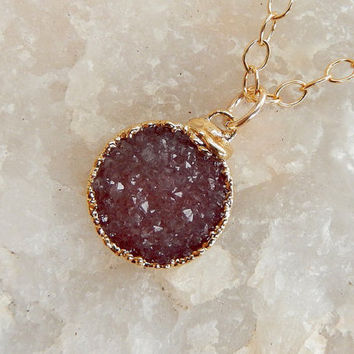 Plum Druzy Necklace 24K Gold Grape Purple Circle Round Dainty Small Quartz Natural Rock Crystal Pendant- Free Shipping Jewelry