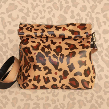 "FREE shipping! Handmade Italian Leather Bag ""Chandler Cheetah"" / Handbag on a strap / Lunch Bag / Clutch / Small Bag"