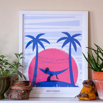 Born to Wander Art Print, Tropical Art, Wanderlust Poster, Wanderlust Print, Adventure Print, Travel Print, Girl and Her Dog, Hammock, 12x16