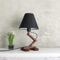 Fat Plat, adjustable walnut lamp bedside wooden table wood lamps with shade E27 desk working night lighting black textile shade, Paladim