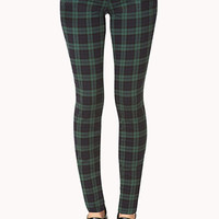 Preppy Plaid Skinny Jeans