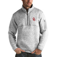 Oklahoma Sooners Antigua Fortune 1/2-Zip Pullover Sweater - Heathered Gray