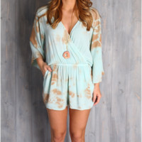 Olivaceous Mint and Brown Tie Dye Romper