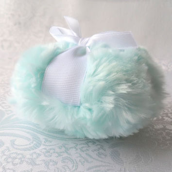 Aqua Blue Body Powder Puff - robins egg blue - plush bath pouf - ultra soft aqua bleu