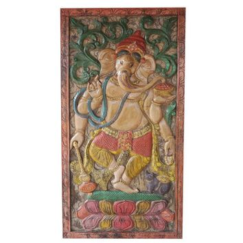 Vintage Indian Hand Carved Ganesha Barndoor Door Colorful Wall Panel Relief