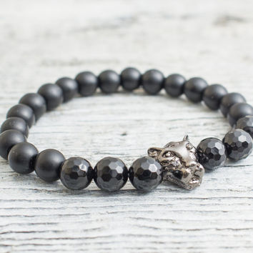Matte black onyx and faceted black onyx beaded gunmetal black Leopard head stretchy bracelet, mens bracelet, womens bracelet