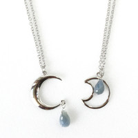 Crescent Moon Necklace with Air Force Blue African Sapphire Briollete Gemstone Pendant, September Birthstone Jewelry