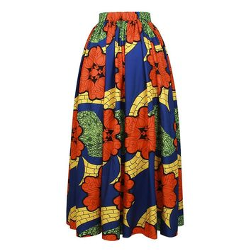 High Waisted African Floral Print A Line Maxi Long Skirt