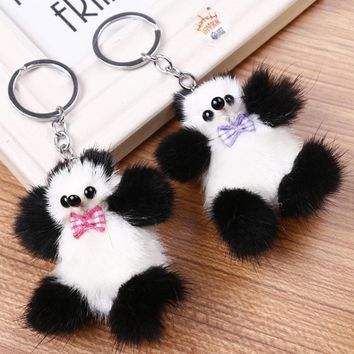 Real Mink Fur Key chains Pom Pom Car Keynesian Fluffy Animal Panda Key Chain Rings For Phone Bag Charms Pendant Toys