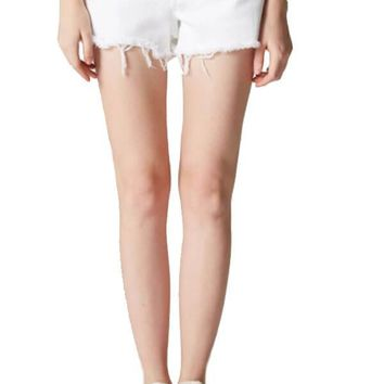 Blank NYC White Cut Off Shorts