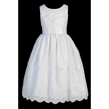 Girls Floral Embroidered Organza Communion Dress 6-12 & Plus 12x-18x