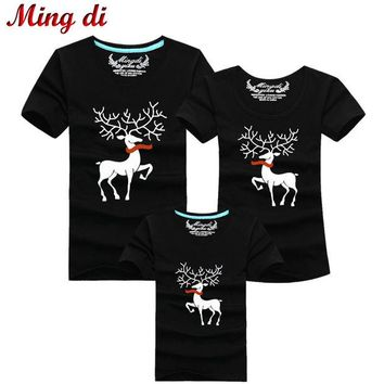 ONETOW Ming Di Christmas Family Matching Outfits T-shirt More Color Milu Deer Matching Family Clothes Mother Father Baby Short Sleeve