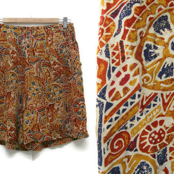 Vintage Silk Shorts~Size Large/Waist 30-38~80s Tribal Aztec Print High Waisted Elastic Yellow Orange Blue Shorts~Amanda Smith