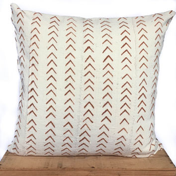 "20"" Inch Goldenrod and White African Mud Cloth Pillow Cover"