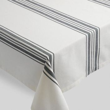 Black Villa Stripe Tablecloth