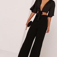 Missguided - Kimono Sleeve Satin Tie Front Crop Top Black