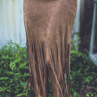 Fringe Skirt in Camel