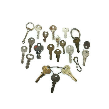 Vintage Mixed Key Lot, Old Keys, Skeleton Key, Master Key, Key Chain, Rustic Keys, Industrial, Distressed Keys, Mixed Media, Altered Art