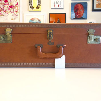 Vintage Brown Leather Stratosphere Suitcase Hardshell with Pink Satin Interior 1950's