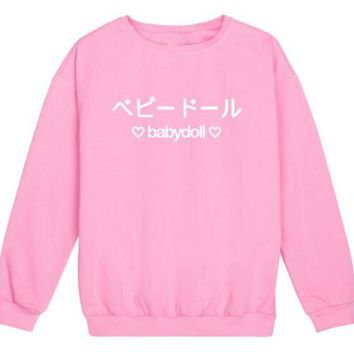 baby doll harajuku Sweatshirt Graphic Casual Tumblr Hoodies swag grunge kale goth punk pastel Hipster Tops Japanese Pullover