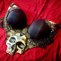 NEW - Black and Gold Skull Bra - Macabre Anatomy Occult Top - Dark Witch Halloween Costume - Goth Baroque Lingerie Unique Plus Size A-F Cup