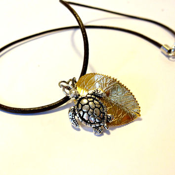 Sea Turtle Necklace , Fall Leaf Necklace, Sea Turtle Jewelry, Turtle Choker, Brown Leather Choker
