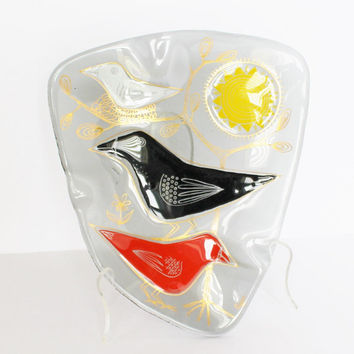 Rare Stunning Higgins Glass Birds and Sun Art Dish Ashtray 1960s / Colorful Gilded Amoeba Shape / Retro Groovy Midcentury Art Signed